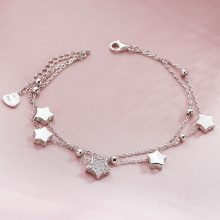 Lovely Star Shaped Silver Women's Chain Bracelet