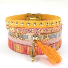 Leather Multicolor Wrap Bracelet