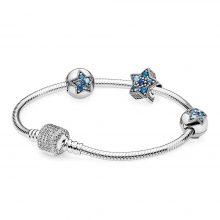 Cute Blue Starfish Silver Bracelet Set