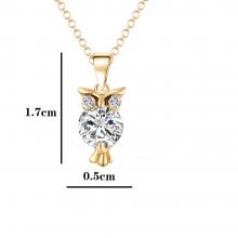 Cubic Zirconia Owl Shape Pendant Necklace