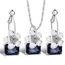 Romantic Crystal Flower Shaped Jewelry Sets