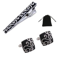 Sets of Stylish Cufflinks and Tie Clip
