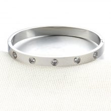 Stainless Steel Bangle with Rhinestones